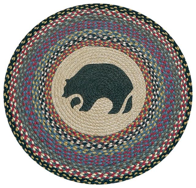 "Capitol Earth Rugs BLACK BEAR 100/% Natural Braided Jute Rug 27/"" Round"