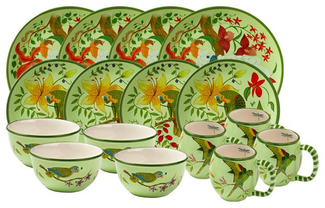 parrotdise 16piece dinnerware set - Dishware Sets