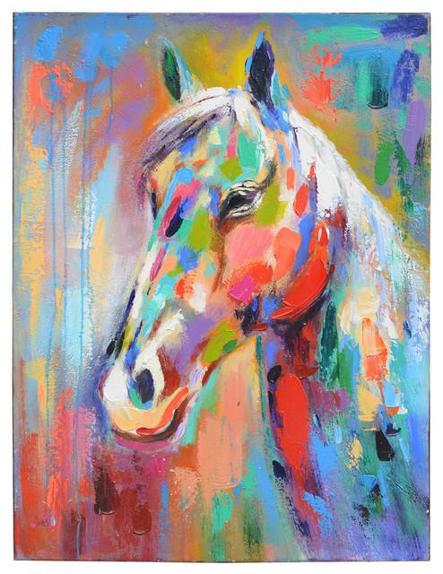 Chip Colorful Horse Canvas Art Print 30x40
