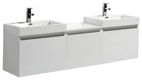 Olympia Modern Double Bathroom Vanity, White, 68.