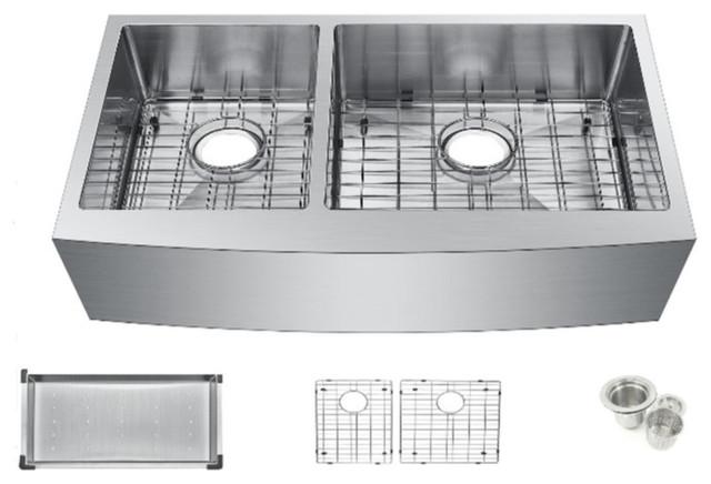 Starstar 33 Undermount Apron 40/60 Double Bowl Kitchen Sink W/accessories.