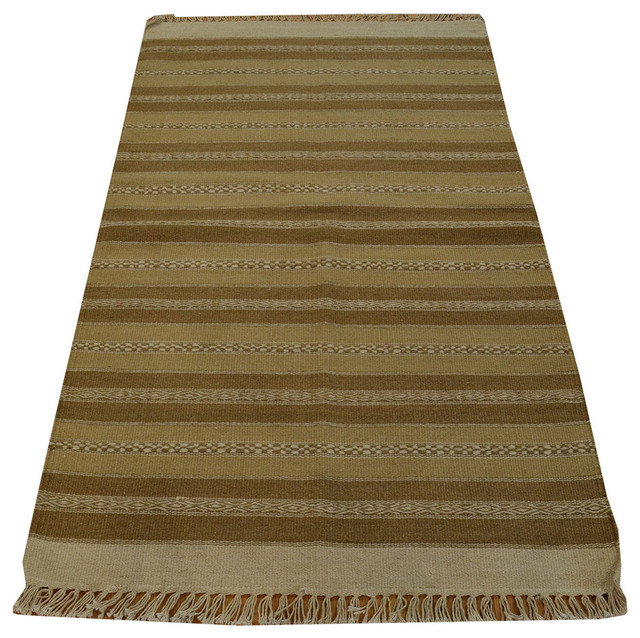 100 Wool Persian Area Rug: 1800 Get A Rug Hand Woven Oriental Rug Striped Durie Kilim