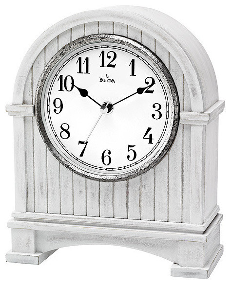 bd60b6140 Bulova Pembroke Mantel Clock - White Wood and Antique Nickel Finish -  Farmhouse - Desk And Mantel Clocks - by Princeton Watches