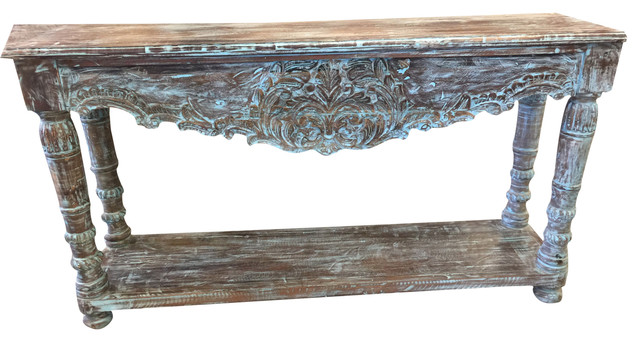 Consigned Antique Blue Lagoon Console Table Turquoise