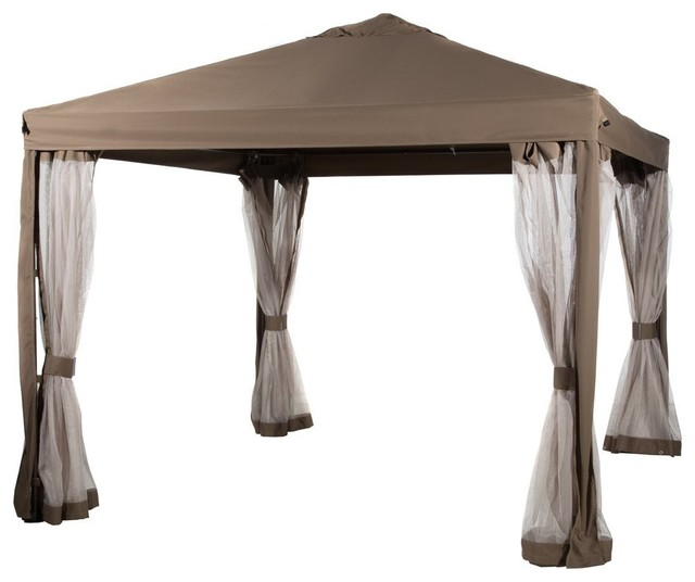 Abba Patio 10&x27;x10&x27; Fully Enclosed Garden Canopy, Mesh Insect Screen, Brown.