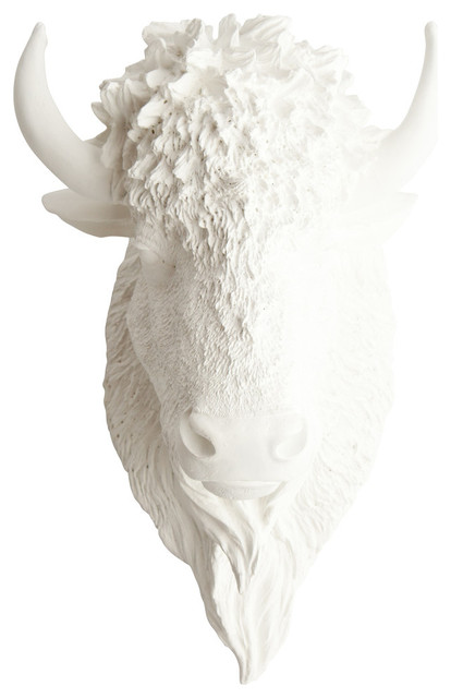 Faux Bison Animal Head Wall Decor, White.