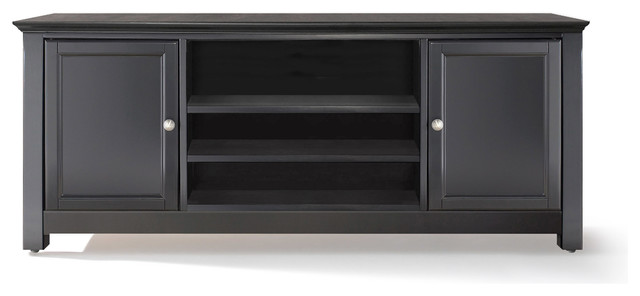 Tv Stand With Sound Bar Black Transitional Entertainment Centers And