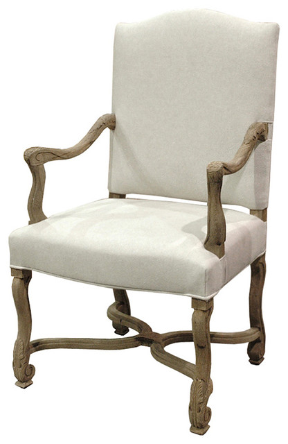 Dafny French Country Empire Camel Back Dining Arm Chair