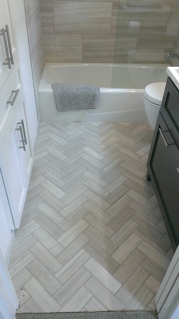 herringbone bathroom floor. Bathroom  12 x 24 Valentino Gray Marble Walls Floor transitional