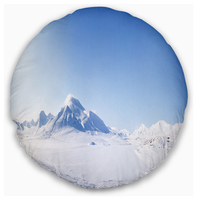 """Vacant Winter Land Panorama Landscape Printed Throw Pillow, 16"""" Round"""