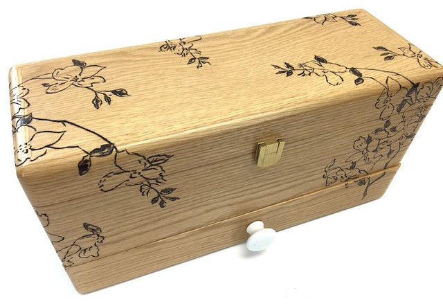 Decorative Recipe Boxes Classy Dogwood Flower Recipe Box  Transitional  Decorative Boxes Design Decoration
