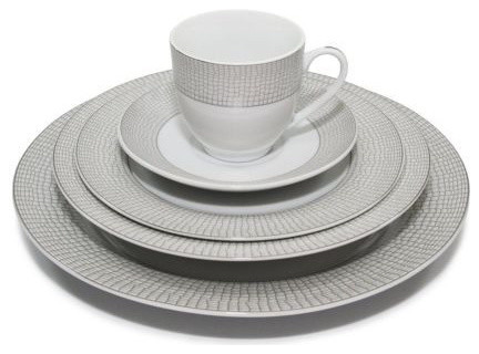 20 Piece  Crocodile  Silver Dinnerware Set for 4 Fine Porcelain  sc 1 st  Houzz : white and silver dinnerware - pezcame.com