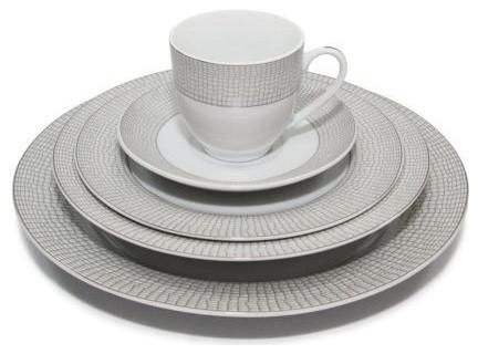 20 Piece  Crocodile  Silver Dinnerware Set for 4 Fine Porcelain  sc 1 st  Houzz & 20 Piece