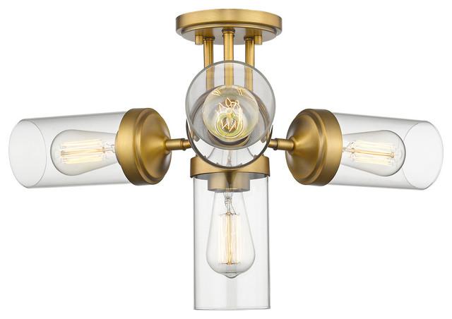 Z-Lite 617sf-Fb Calliope 4-Light Semi Flush Mount, Foundry Brass.