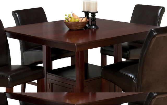 Jofran Tessa Chianti Square Counter Height Table With Storage Base Traditional Dining Tables