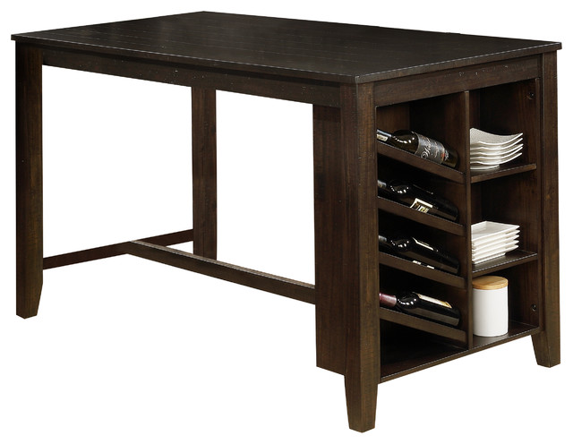 Quinn Cappuccino Counter Height Dining Table With Storage Shelf And Wine  Rack   Transitional   Dining Tables   By All In One Furniture