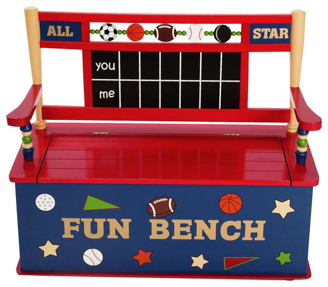 Kids Storage Bench Part - 24: All Star Sports Bench Seat With Storage Contemporary-kids-storage-benches -and