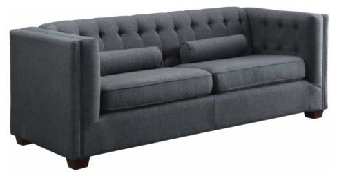Cairns Collection Contemporary Tufted Back Sofa Couch Micro Velvet, Charcoal