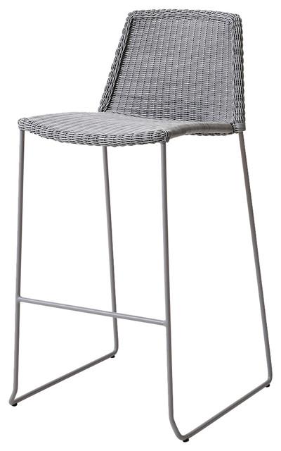 Astounding Cane Line Breeze Grey Modern Outdoor Bar Stool Andrewgaddart Wooden Chair Designs For Living Room Andrewgaddartcom