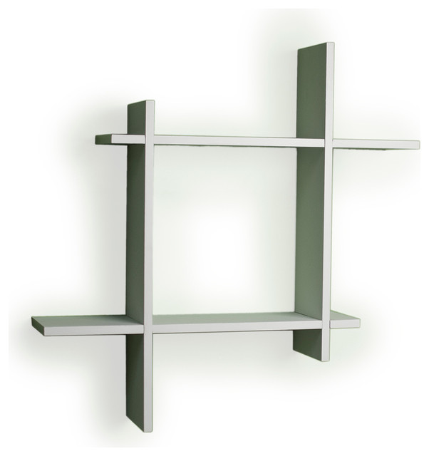 Contemporary Floating Wall Shelves asymmetric laminate square floating wall shelf - contemporary