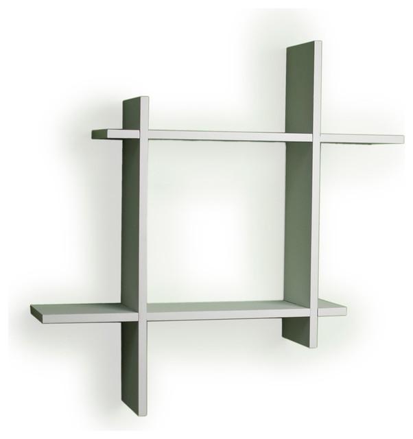Danyab Asymmetric Black Laminate Square Floating Wall Shelf contemporary -display-and-wall-