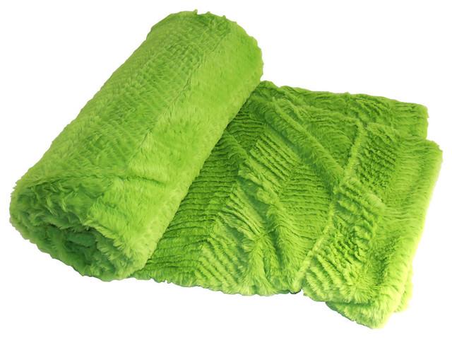 Herringbone Jumbo OverSize Faux Fur Throw Blanket Contemporary Unique Citron Throw Blanket