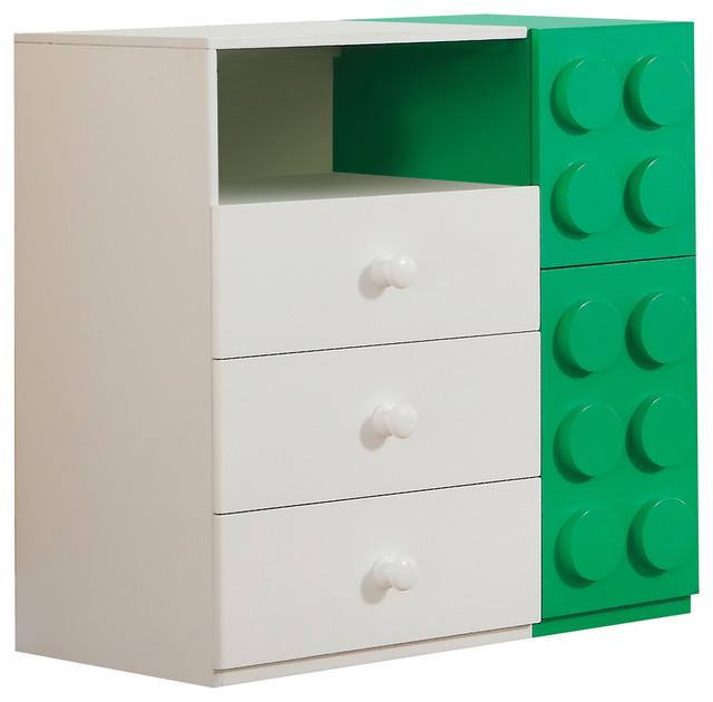 ACME Playground 3-Drawer 2-Door Kids Dresser, White/Green