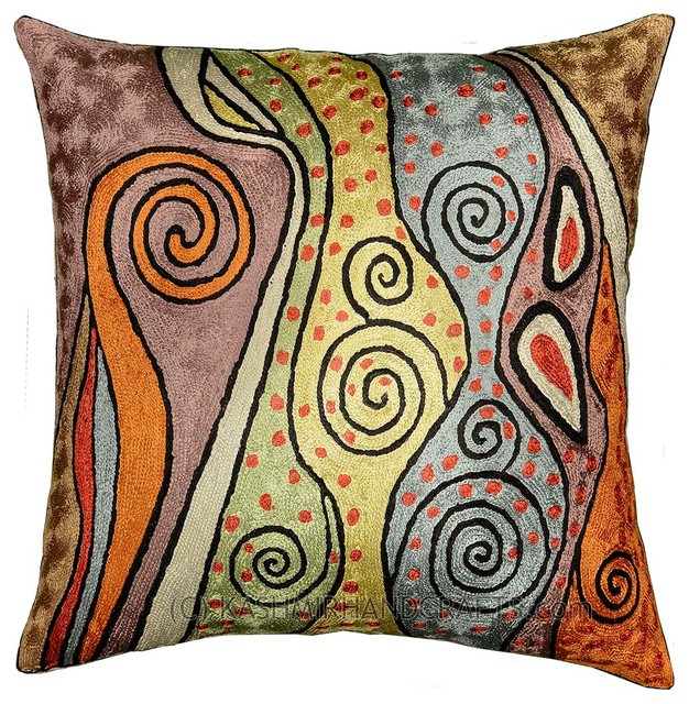 "Klimt Accent Pillow Cover Rainbow Hand-Embroidered, 18""x18""."