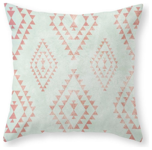 "Mint And Coral Tribal Pillow Cover, 20""x20"" With Insert."