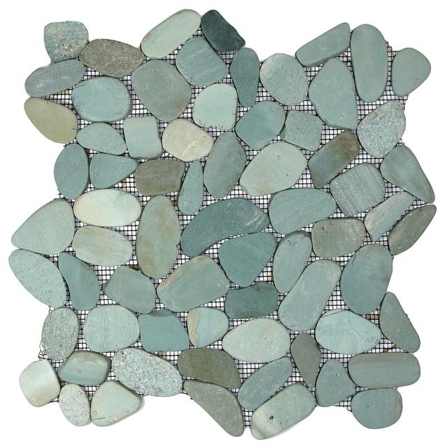 12 X12 Sliced Sea Green Pebble Tile