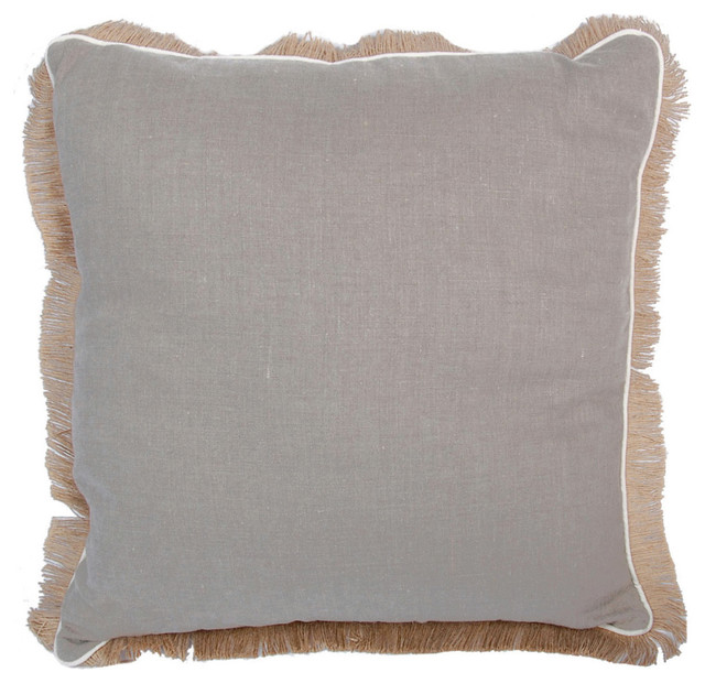 Natural Decorative Pillow : Linen Square Pillow With Jute Fringe - Transitional - Decorative Pillows - by Lacefield Designs