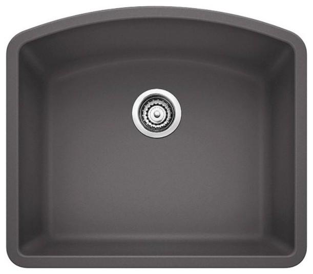 """Blanco Diamond Cinder, Single-Bowl Sink 25""""x22"""" Silgranit Dual-Mount."""