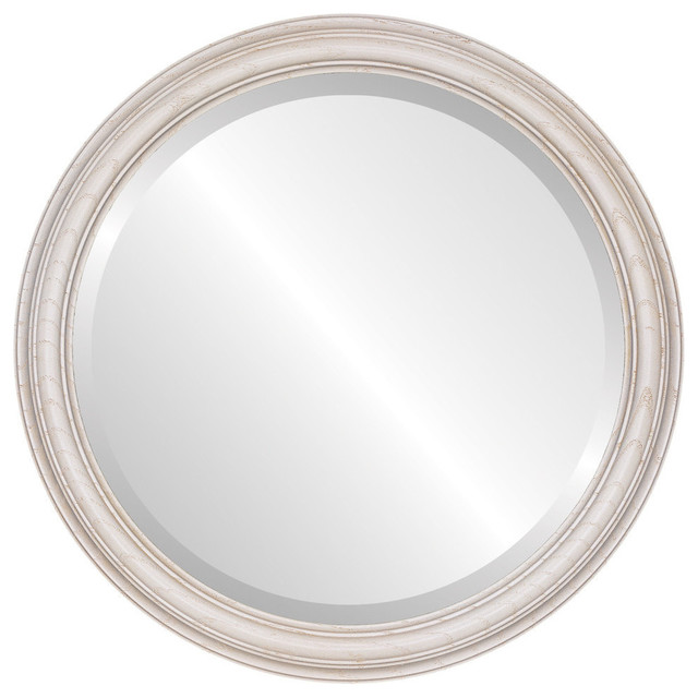 "Melbourne Framed Round Mirror In Country White, 21""x21""."