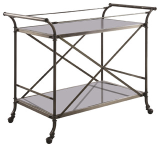 Brushed Antique Brass Metal Serving Cart With Glass Top