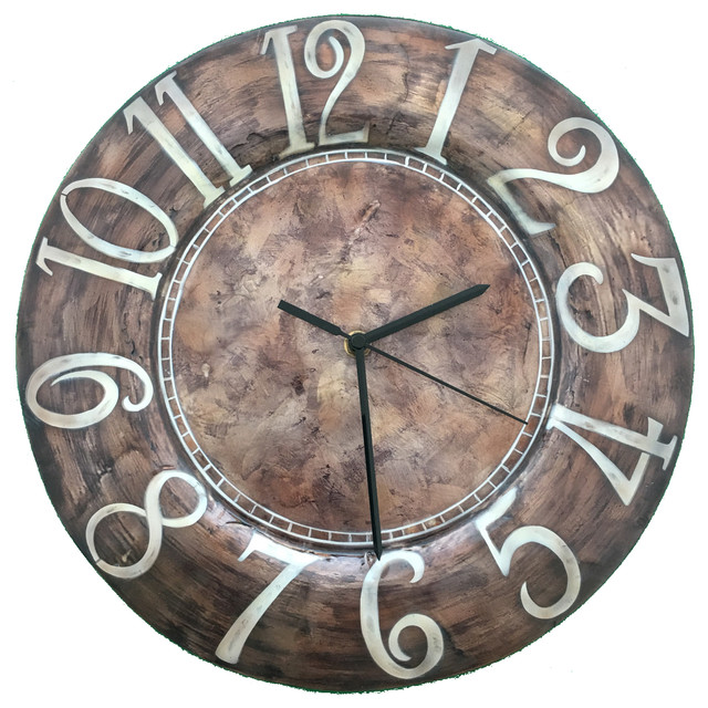 Superbe Eangee Home Design Indoor Outdoor Handpainted Wall Clock Brown White Numbers
