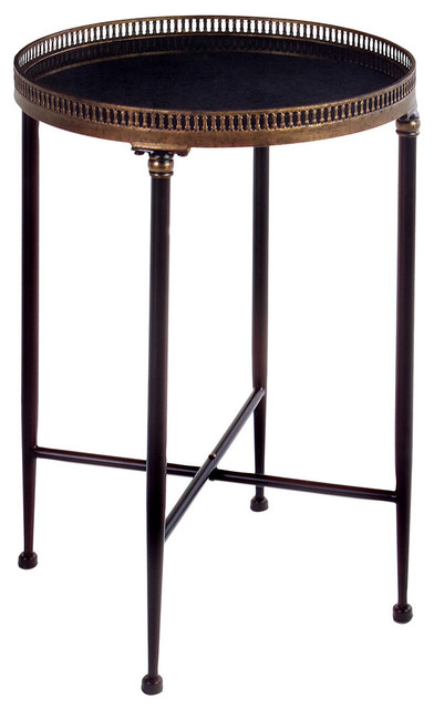 Kantor Round Accent Table, Black and Bronze