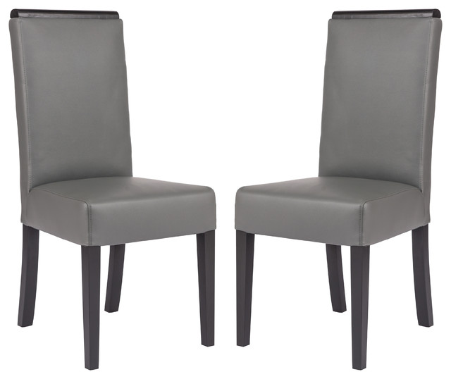 Leisuremod Elroy Mid-Century Leather Dining Side Chairs, Set Of 2, Grey.