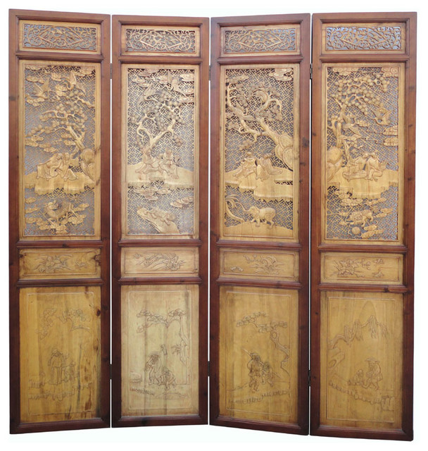 Chinese Antique Boxwood Four Seasons Room Divider Panel