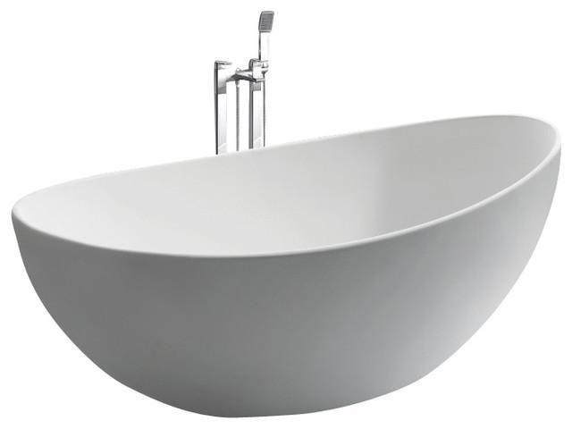 ADM Free Standing Stone Resin Bathtub, Glossy