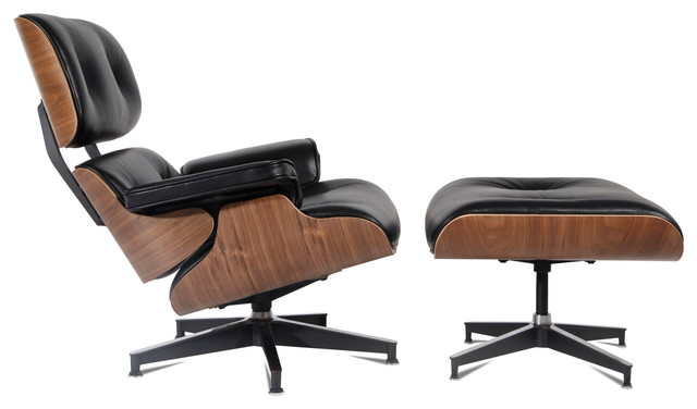 Enjoyable Mid Century Plywood Lounge Chair Aniline Leather Walnut Black Gmtry Best Dining Table And Chair Ideas Images Gmtryco