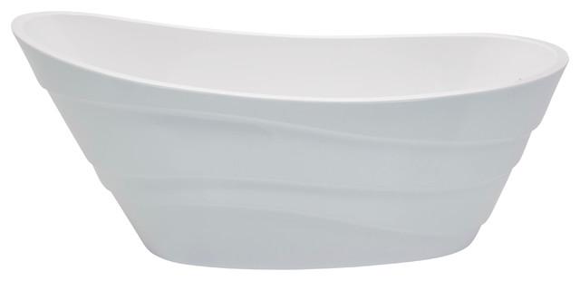 Stratus 67 1-Piece Acrylic Bathtub, Glossy White.