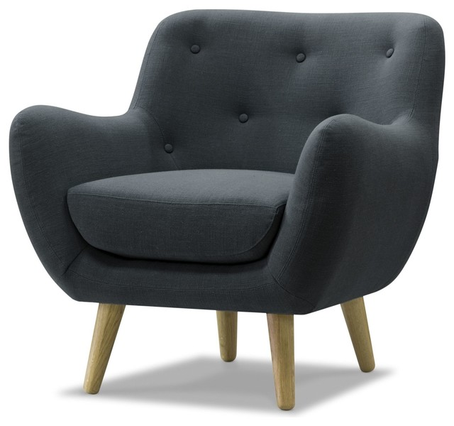 poppy meuble fauteuil esprit seventies en tissu gris. Black Bedroom Furniture Sets. Home Design Ideas