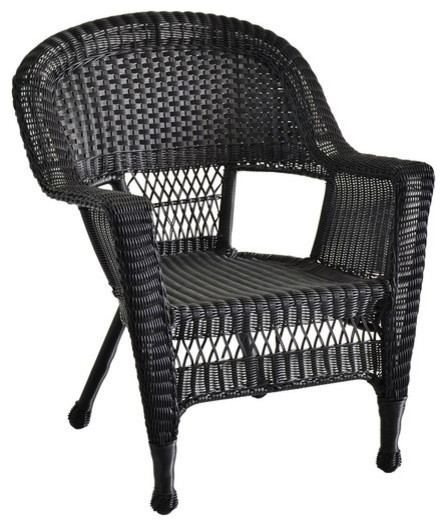 Jeco Inc Traditional Outdoor Poolside Resin Wicker Chair, Black   Set Of 4
