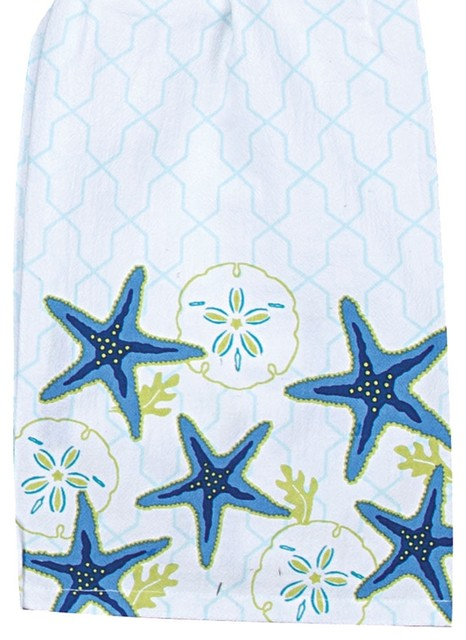 Seashell Sand dollar Kitchen Towel Set Of 2 by Kay Dee NEW