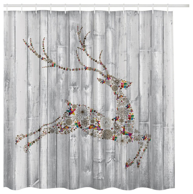 White Washed Wood With Christmas Holiday Reindeer Fabric Shower Curtain