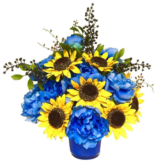 Sunflower Peony Floral Arrangement Centerpiece Farmhouse Artificial Flower Arrangements By Sandy Newhart Designs