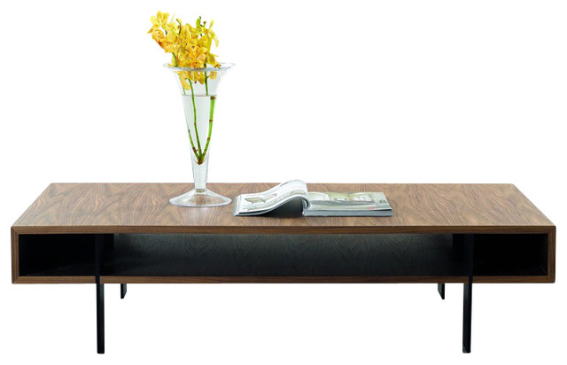 Modern Coffee Table modrest stilt modern walnut coffee table - contemporary - coffee