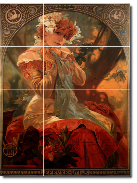 Picture tiles llc alphonse mucha poster art painting for Ceramic mural art