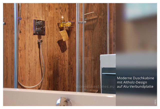 holzdesign in der dusche bedruckte alu verbundplatte im bad. Black Bedroom Furniture Sets. Home Design Ideas