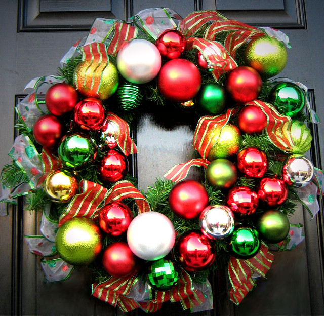 Wreath Made Of Ornaments & Ribbon